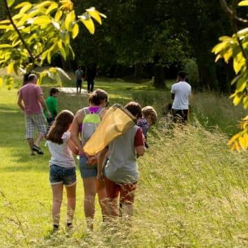 Famille explorant la faune et la flore du parc de la forêt de Saoû.