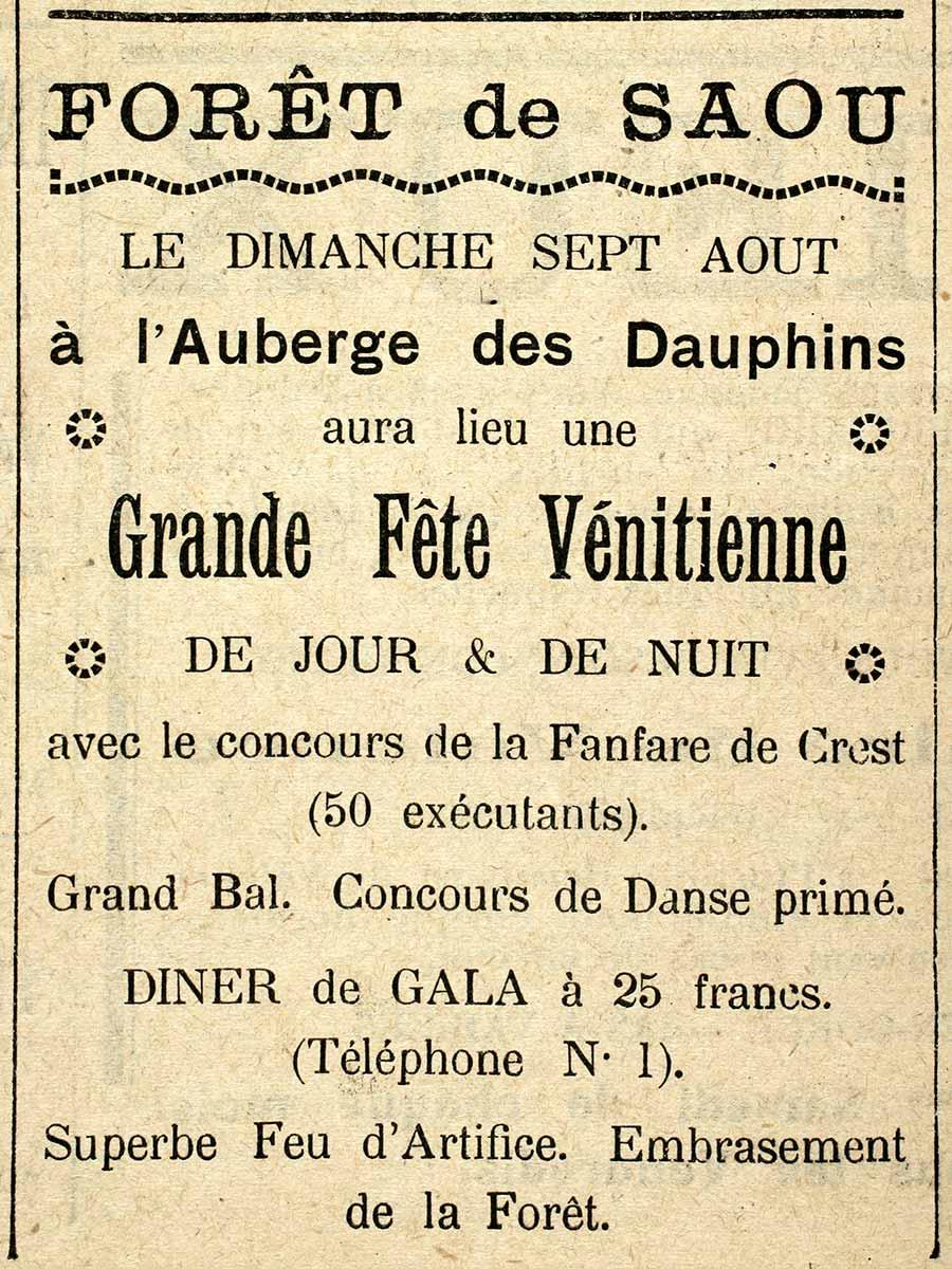 Annonce de la fête vénitienne de 1932 parue dans Le Crestois