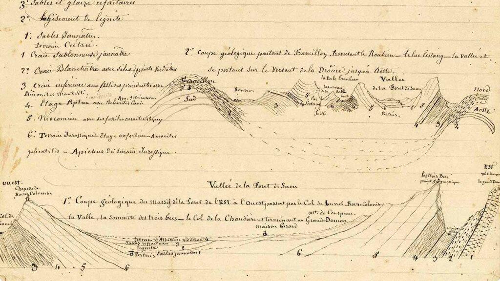 Illustration d'archives d'un étude géologique de la forêt de Saoû.