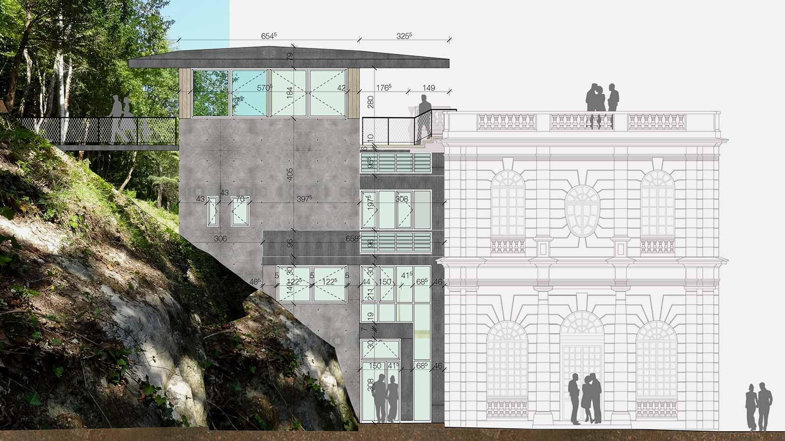 Dessin technique du nouveau bâtiment accolé à la partie ancienne de l'auberge.