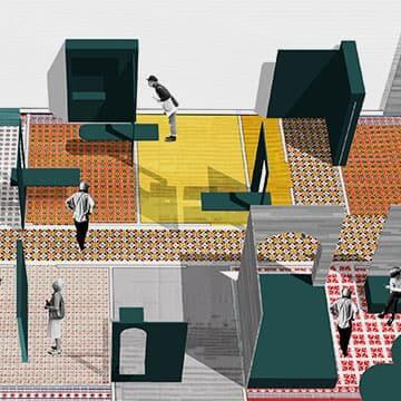 Vue 3D de la scénographie d'un des espaces d'exposition.
