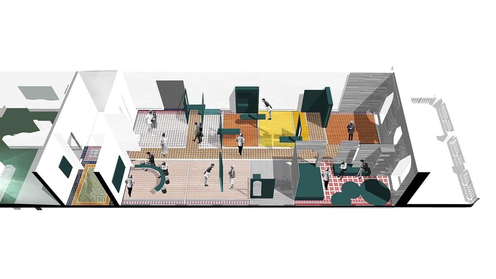 Vue 3D de la scénographie d'un des espaces d'exposition, à l'est du bâtiment.
