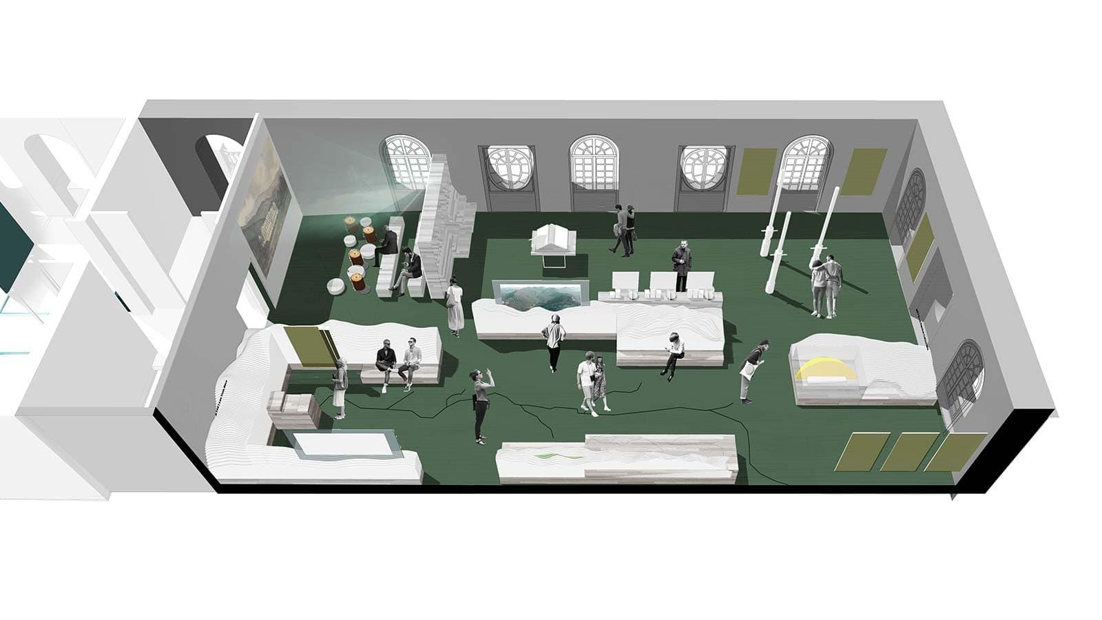 Vue 3D de la scénographie d'un des espaces d'exposition, à l'ouest du bâtiment.