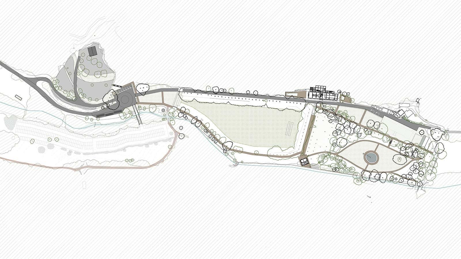 Plan du projet d'aménagement du parc de la forêt de Saoû.